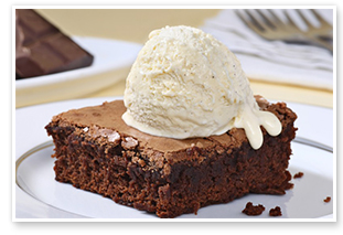Brownie süti vanília jégkrémmel
